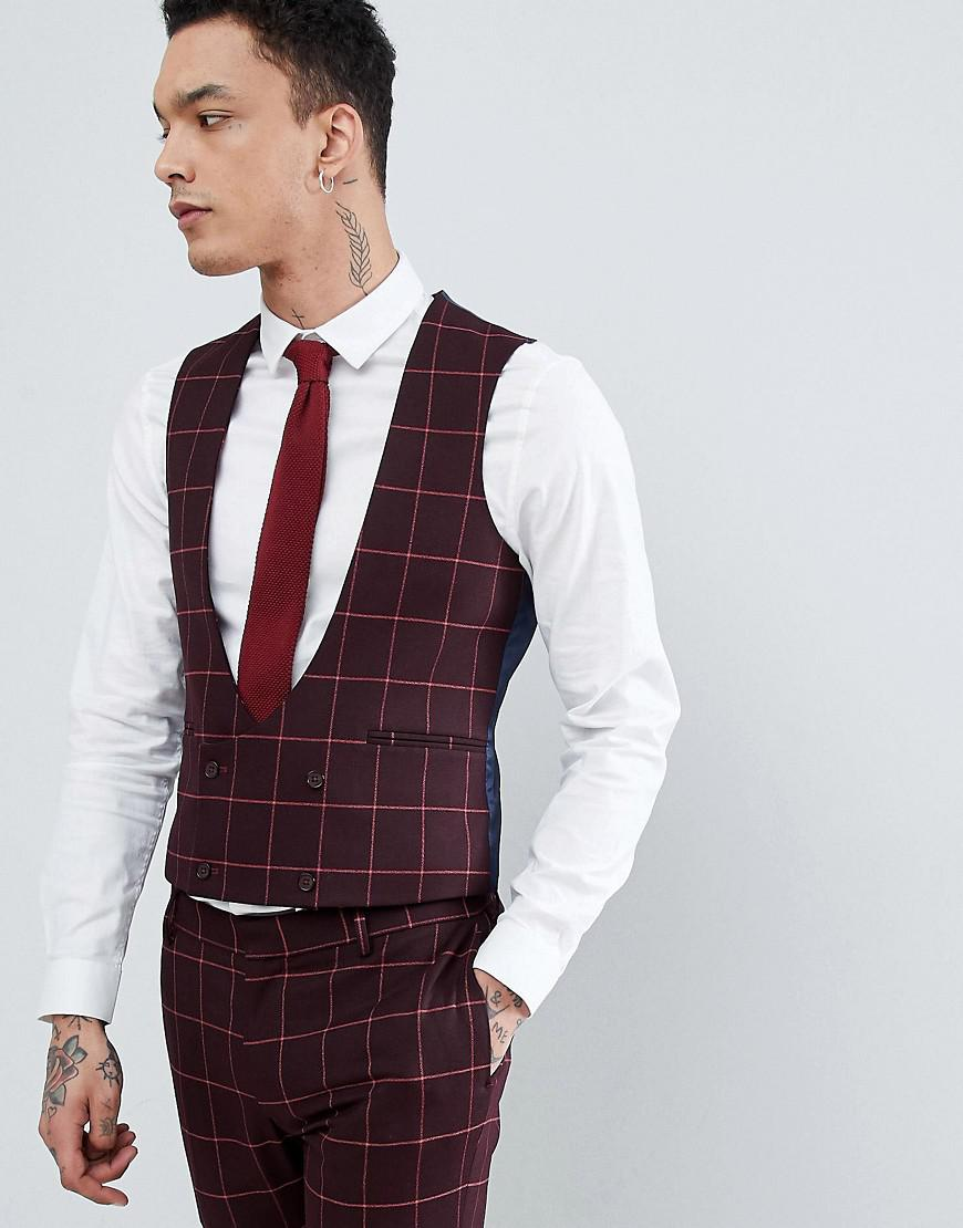 DESIGN Wedding Skinny Suit Waistcoat In Wine Micro Texture - Red Asos Sale Comfortable Recommend 100% Original Cheap Discount Authentic SlHEIY