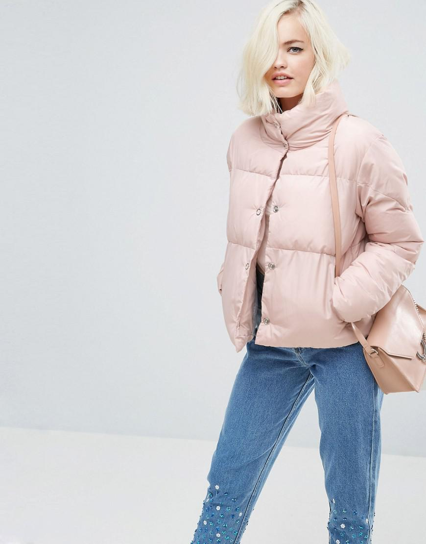 1e9bf8e35b163 Lost Ink Padded Jacket in Pink - Lyst