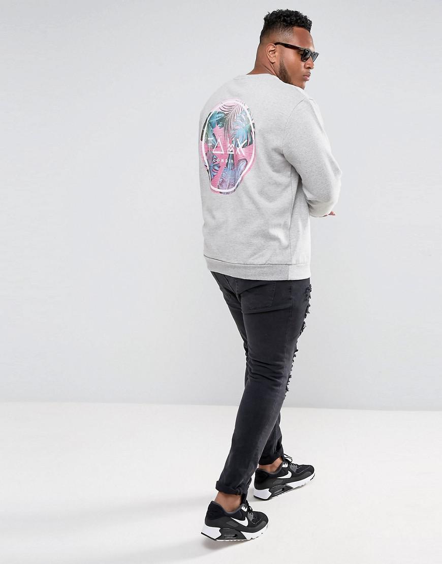 Friend or Faux Cotton Plus Bowman Printed Sweatshirt in Grey (Grey) for Men