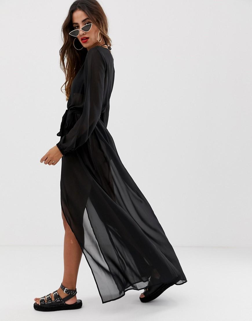 9685a4e7a3 ASOS Recycled Long Sleeve Wrap Tie Chiffon Maxi Beach Kimono In Black in  Black - Lyst