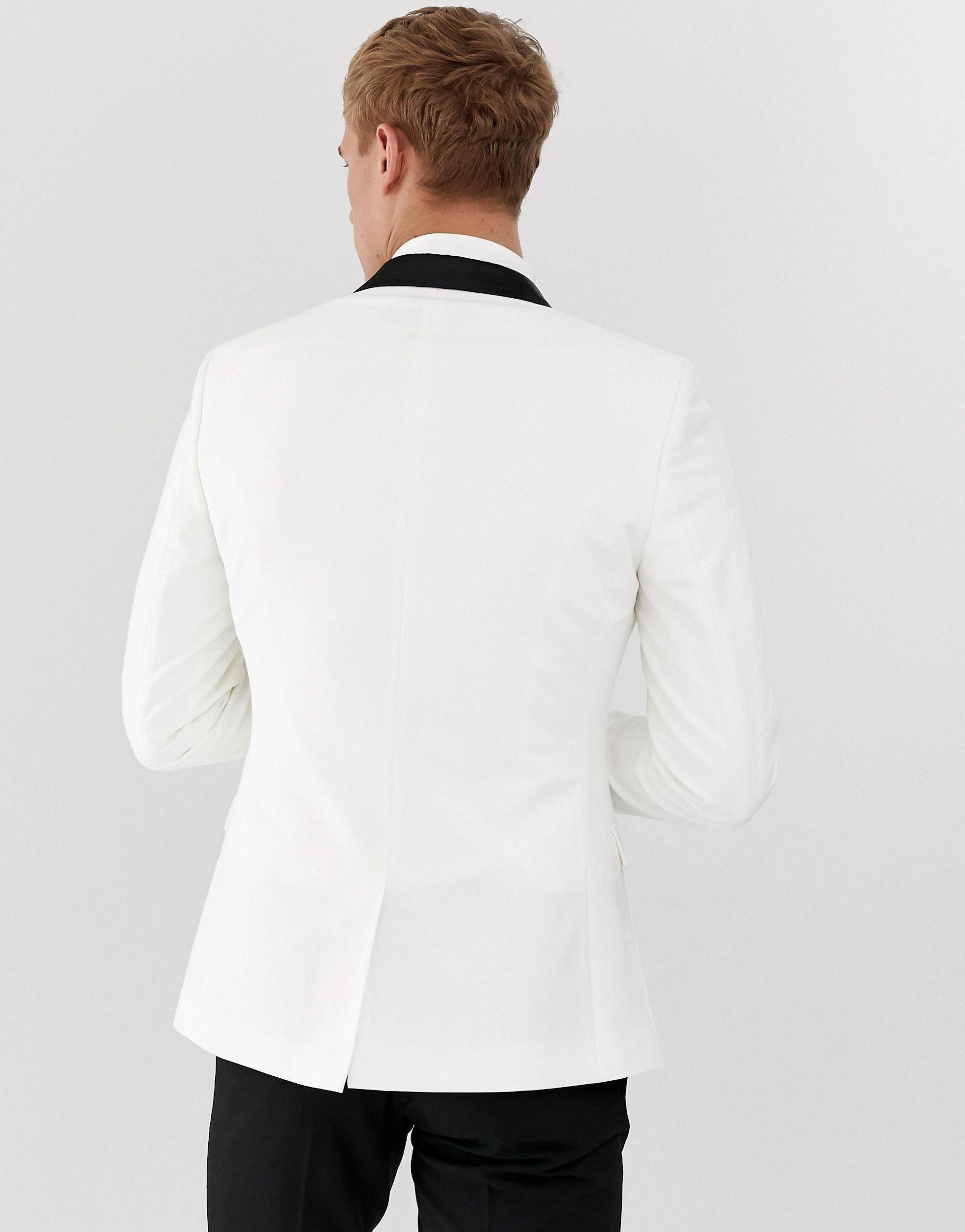 ASOS Synthetisch Superskinny Smokingcolbert in het Wit voor heren