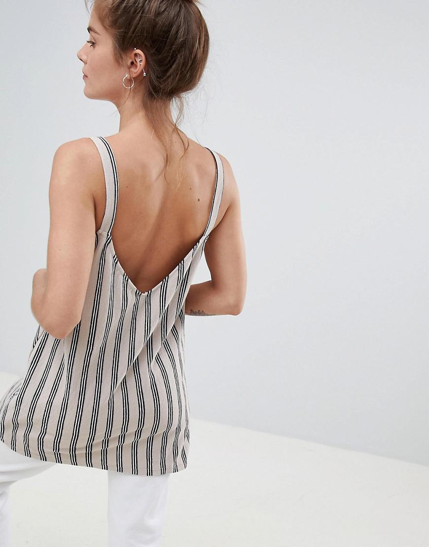 df6049b8beb8f Lyst - Pull Bear Organic Cotton Cami Top In Stripe in White