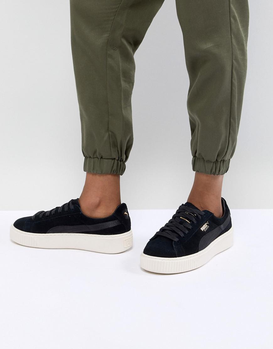 PUMA Suede Platform Sneaker in Black - Lyst