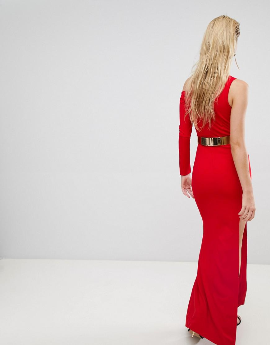 Forever Unique Cut Out Sleeve One Shoulder Maxi Dress in Red
