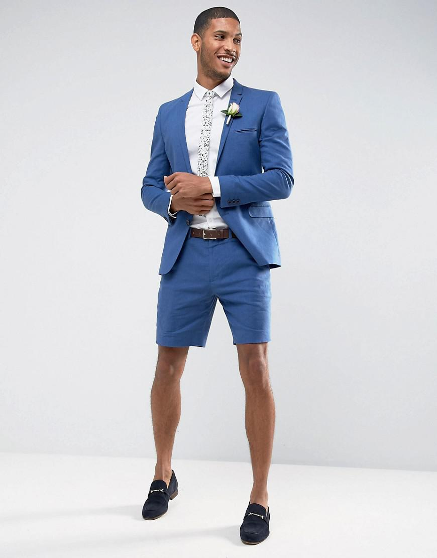 Asos Wedding Super Skinny Suit Shorts In Mid Blue Stretch ...