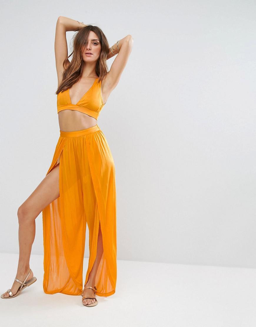 8d20ec2d4b ASOS Beach Co-ord Split Pant In Slinky in Orange - Lyst