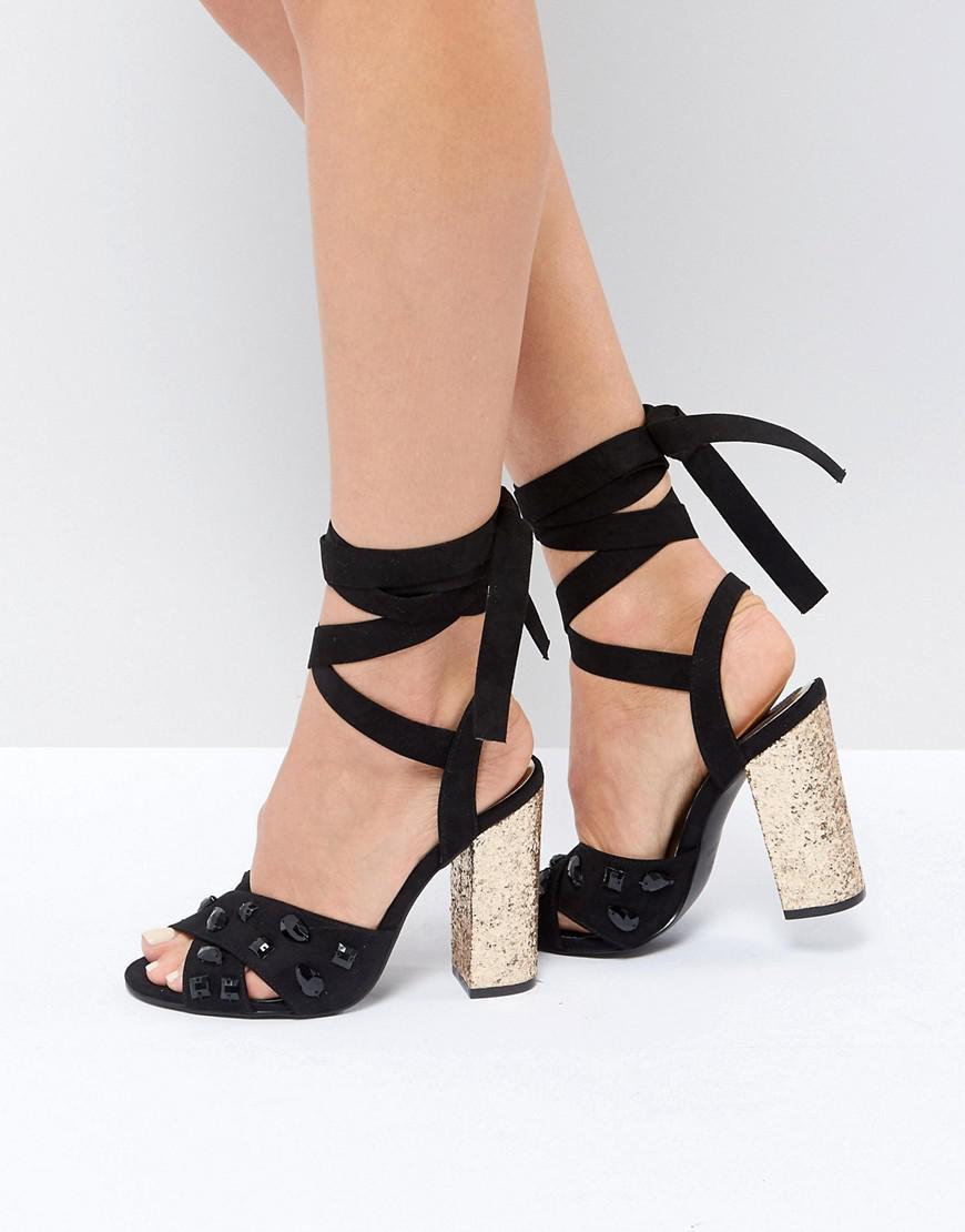 9944f20f25b Truffle Collection. Women s Black Glitz Tie Up Block Heel Sandal. £39 £16  From ASOS