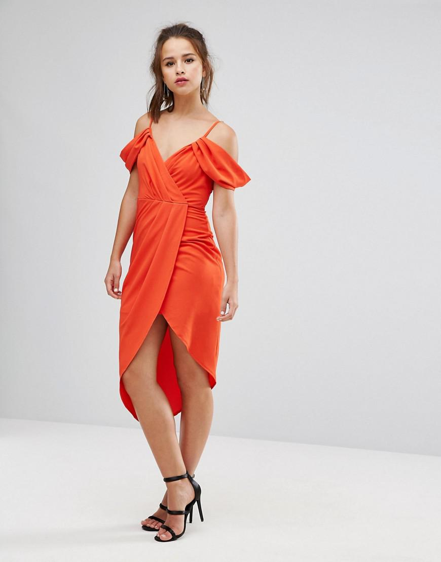 Marketable Outlet Free Shipping Authentic Wrap Front Dress with Cold Soulder Detail and Asymmetric Hem - Red Ginger Fizz Sale Sneakernews Factory Outlet Sale Online dyLm2