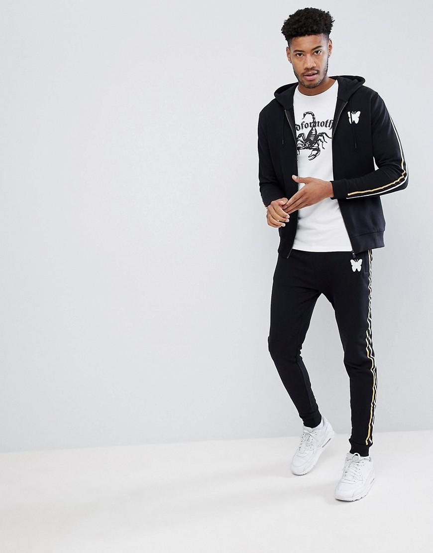 Good For Nothing Tall Hoodie In Black With Taping for Men