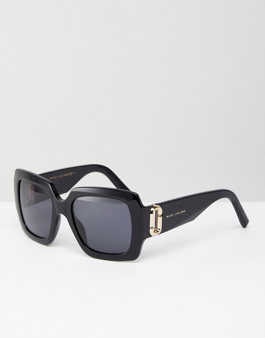 Tinted Lens Square Frame Sunglasses with Splatter Finish - Black Marc Jacobs KwG48kLn