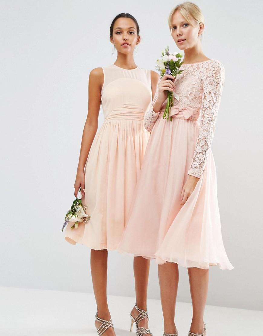 c3de0307d25 Asos Design Bridesmaid Midi Dress With Lace And Bow Detail in Pink ...