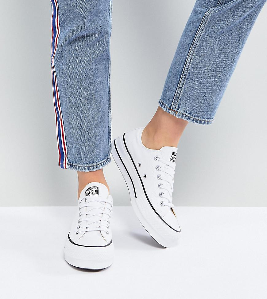 c76fa09a66b8a2 Converse Chuck Taylor All Star Platform Ox Trainers In White in ...