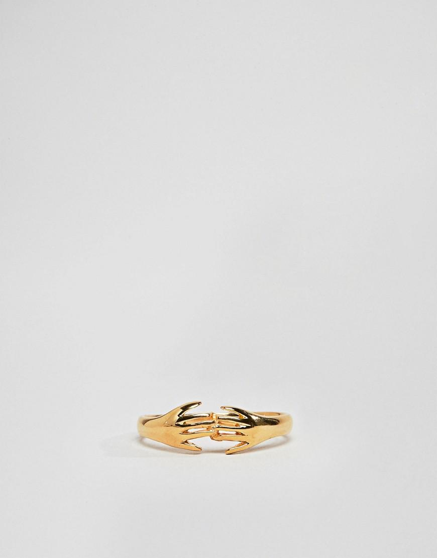 ASOS Denim Asos Design Curve Ring In Gold Plated Sterling Silver In Vintage Style Hand Design in Metallic