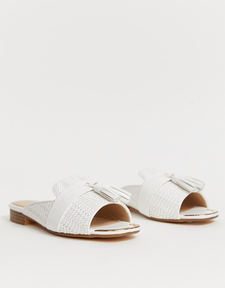 d291dd89acd River Island Sliders With Tassel Detail In White in White - Lyst