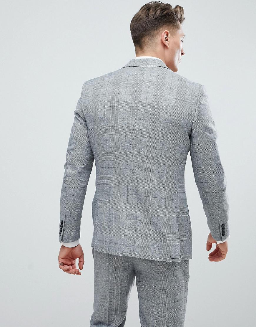 Lyst - Veste de costume cintre carreaux River Island pour homme en coloris  Gris a046cd9886d