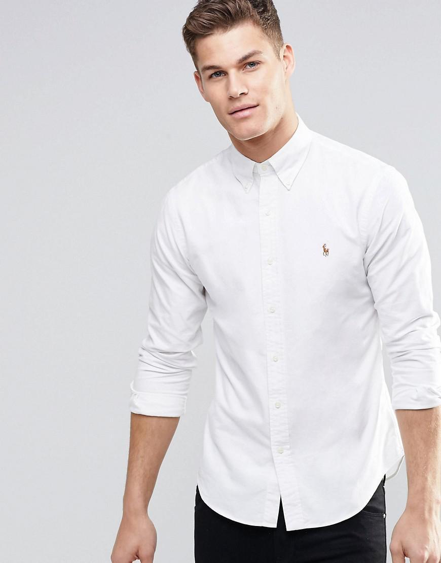 0113243c0d0fa Polo Ralph Lauren Oxford Shirt In Slim Fit White in White for Men ...