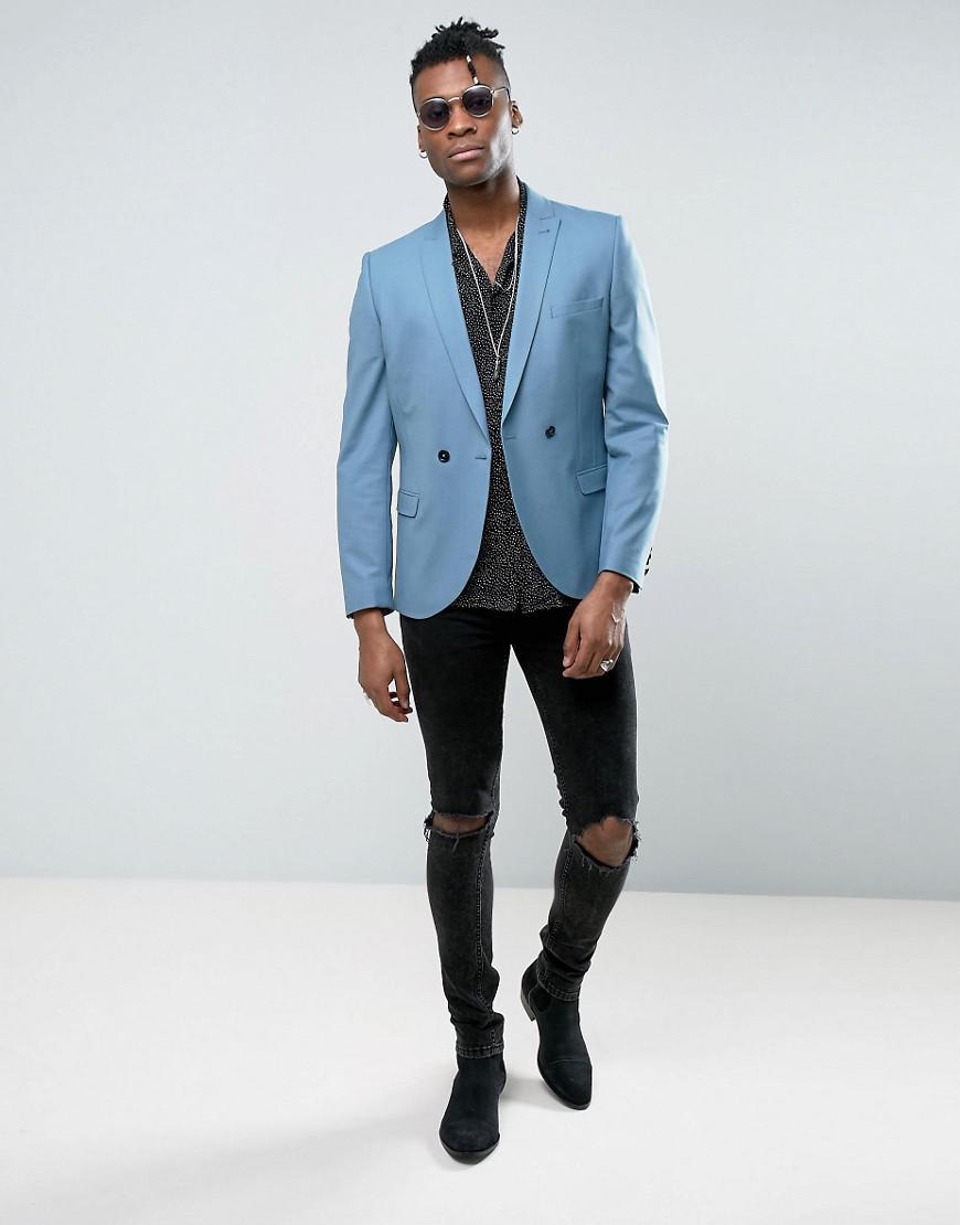 Noose And Monkey Super Skinny Wedding Suit Jacket in Blue for Men - Lyst