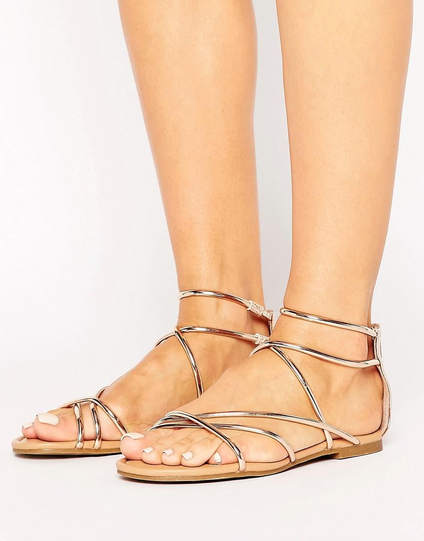 d780e7cfe859 Lyst - Steve Madden Sapphire Rose Gold Strappy Flat Sandals in Metallic