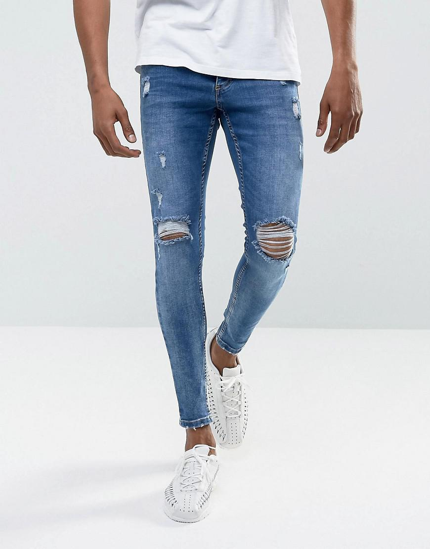 Super Skinny Jeans In White With Distressing - White The Gym King Shopping Online Outlet Sale Free Shipping Pick A Best Cheap Shop For LXCnq2