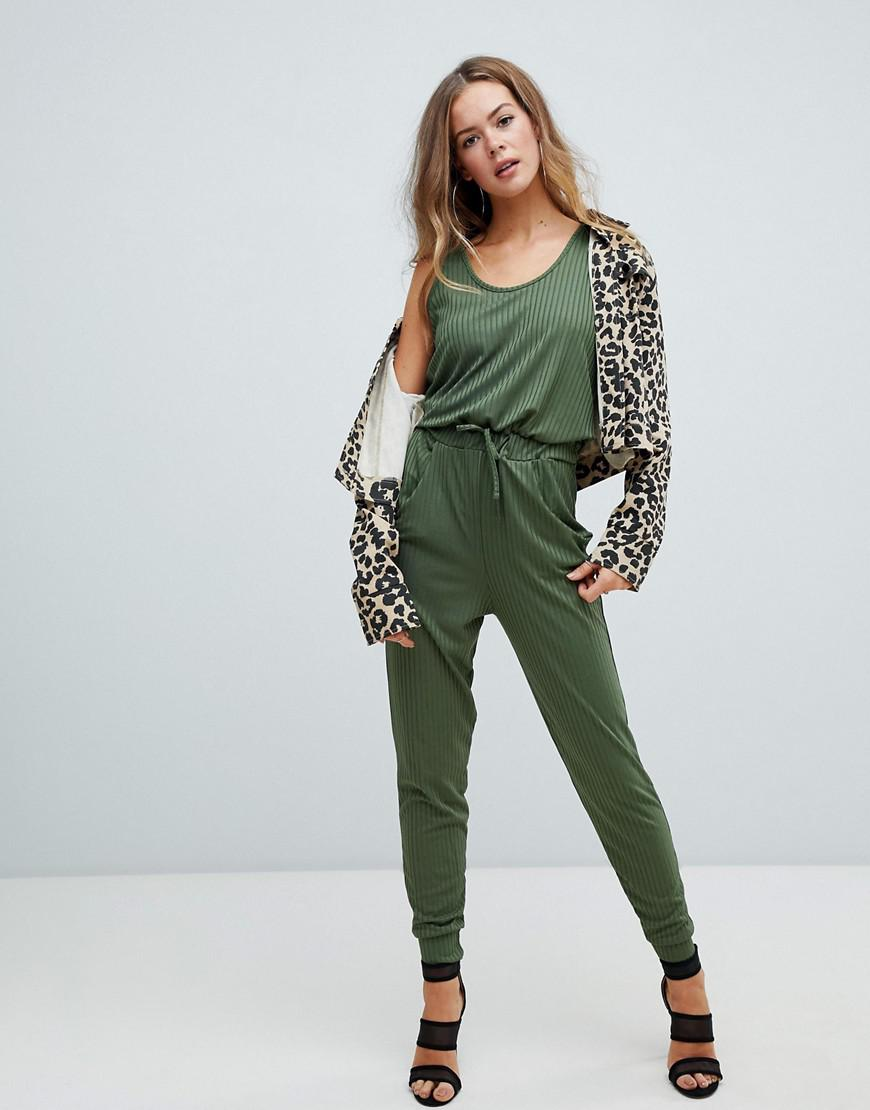 b9319fc5b25 Missguided Casual Sleeveless Jumpsuit In Khaki in Green - Lyst