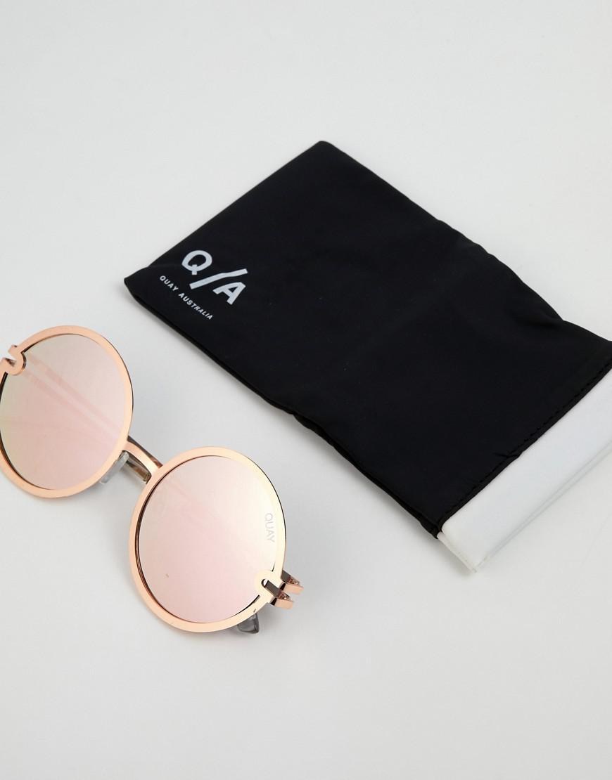 9d4d66985dabf Lyst - Quay Ukiyo Round Frame Rose Gold Mirror Lens Sunglasses in ...