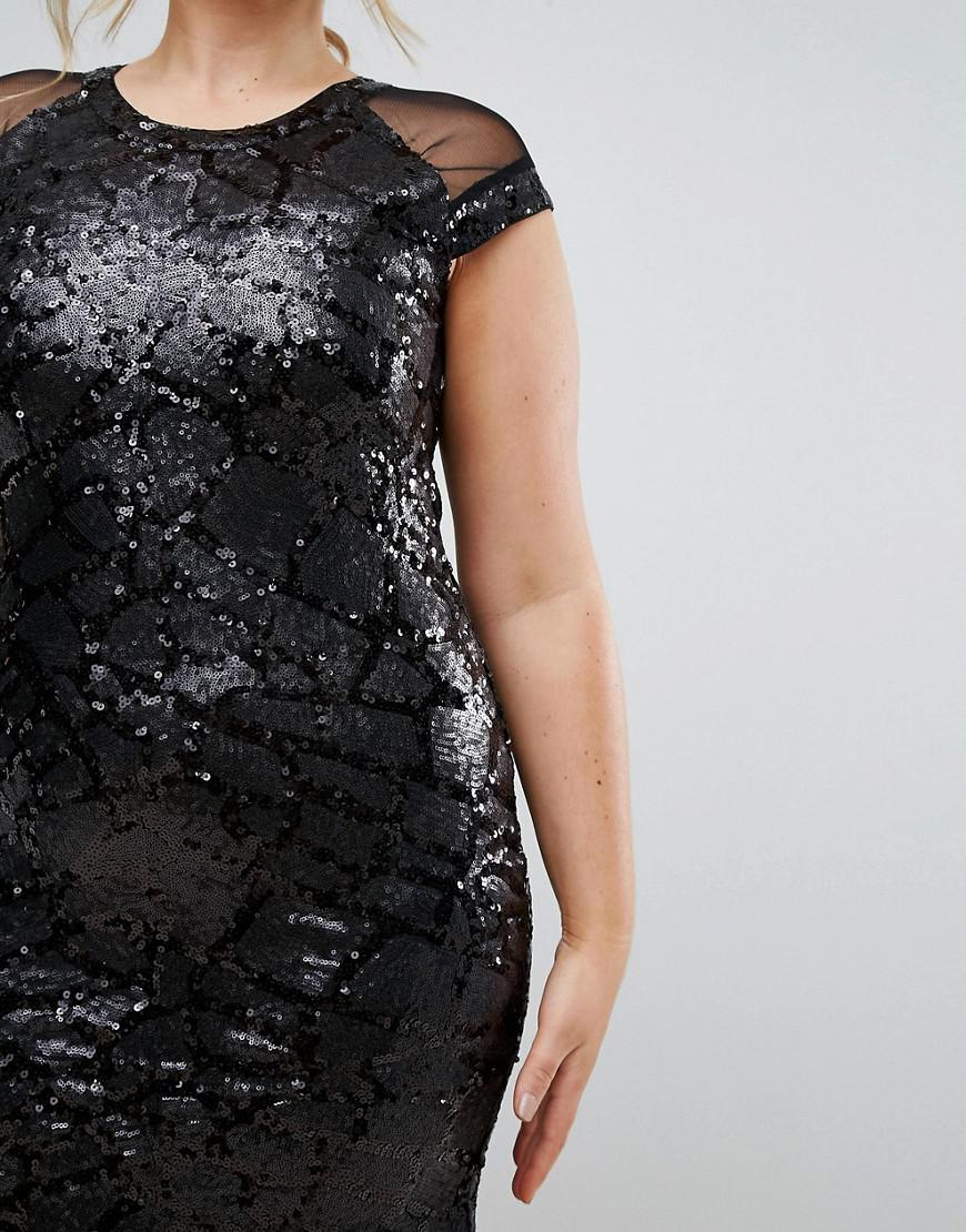Plus Size Cap Sleeve Mesh Insert Maxi Dress