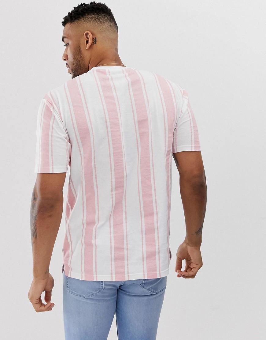 Another Influence Katoen Oversized Gestreept Overhemd in het Roze voor heren