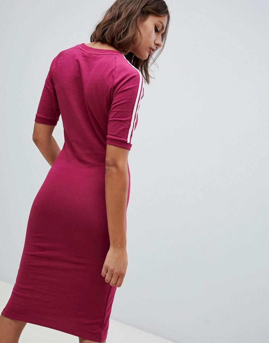 ca300989d18 adidas Originals Three Stripe Midi Dress In Ruby in Red - Lyst