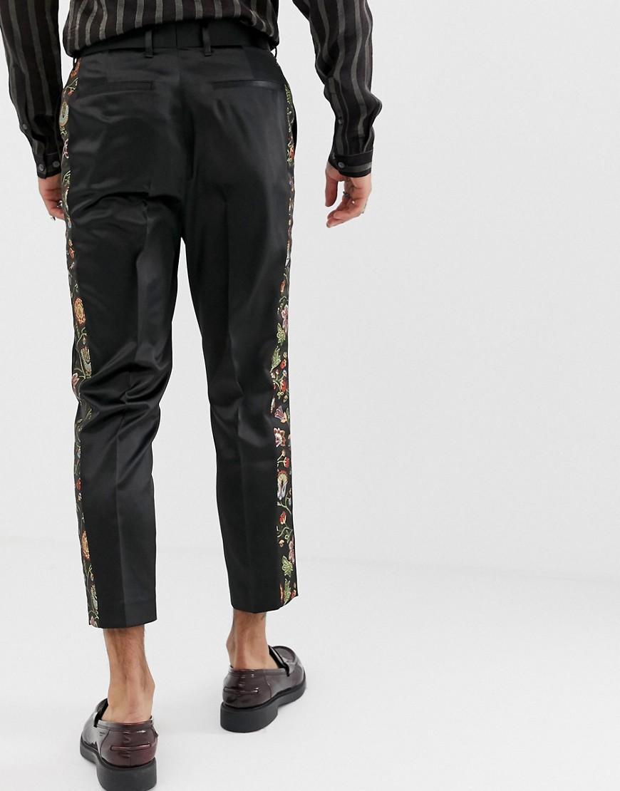 ASOS Synthetisch Smaltoelopende Pantalon In Gebloemd Jacquard in het Zwart voor heren