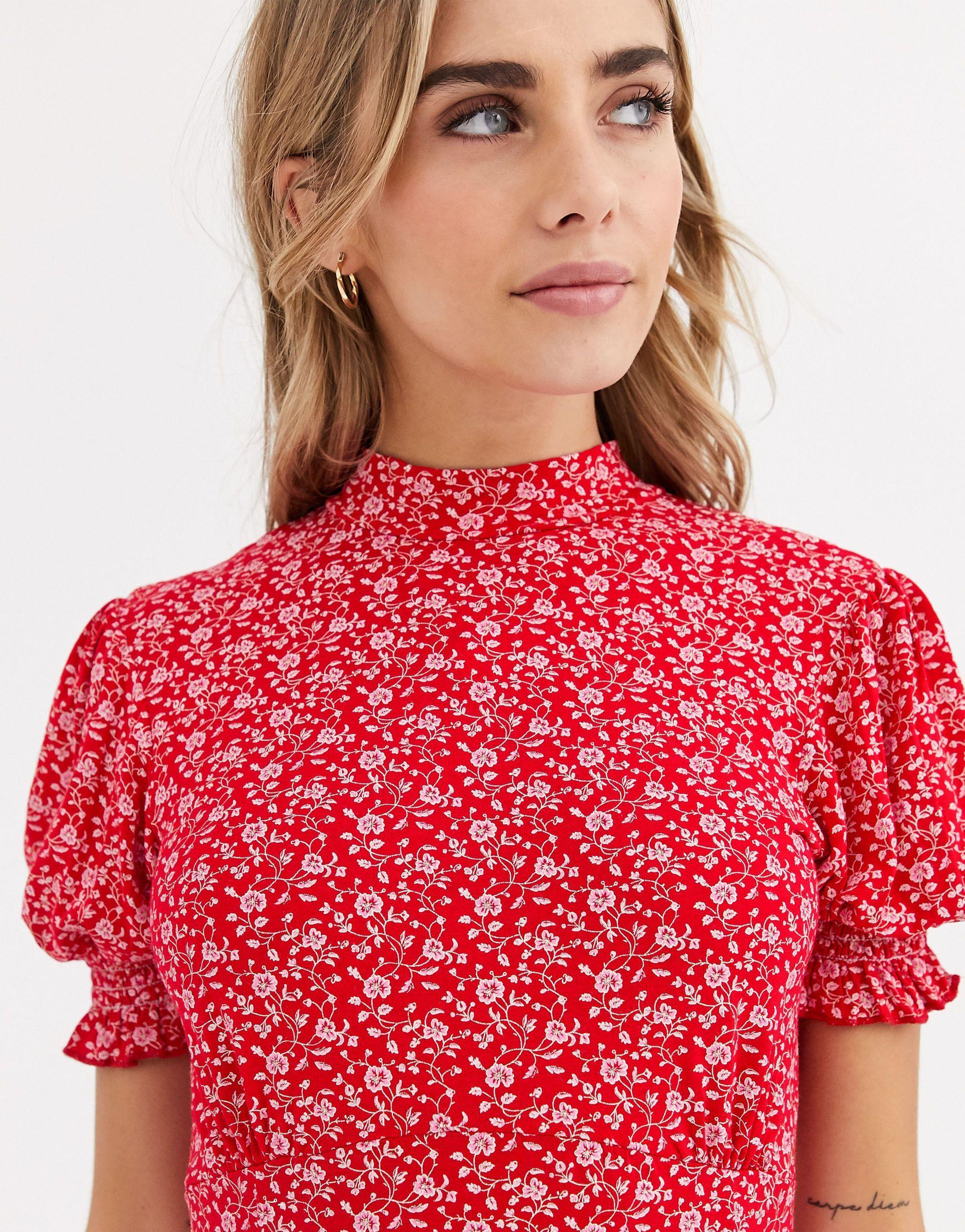 Vestido midi con cuello alto y estampado floral Miss Selfridge de Tejido sintético de color Rojo