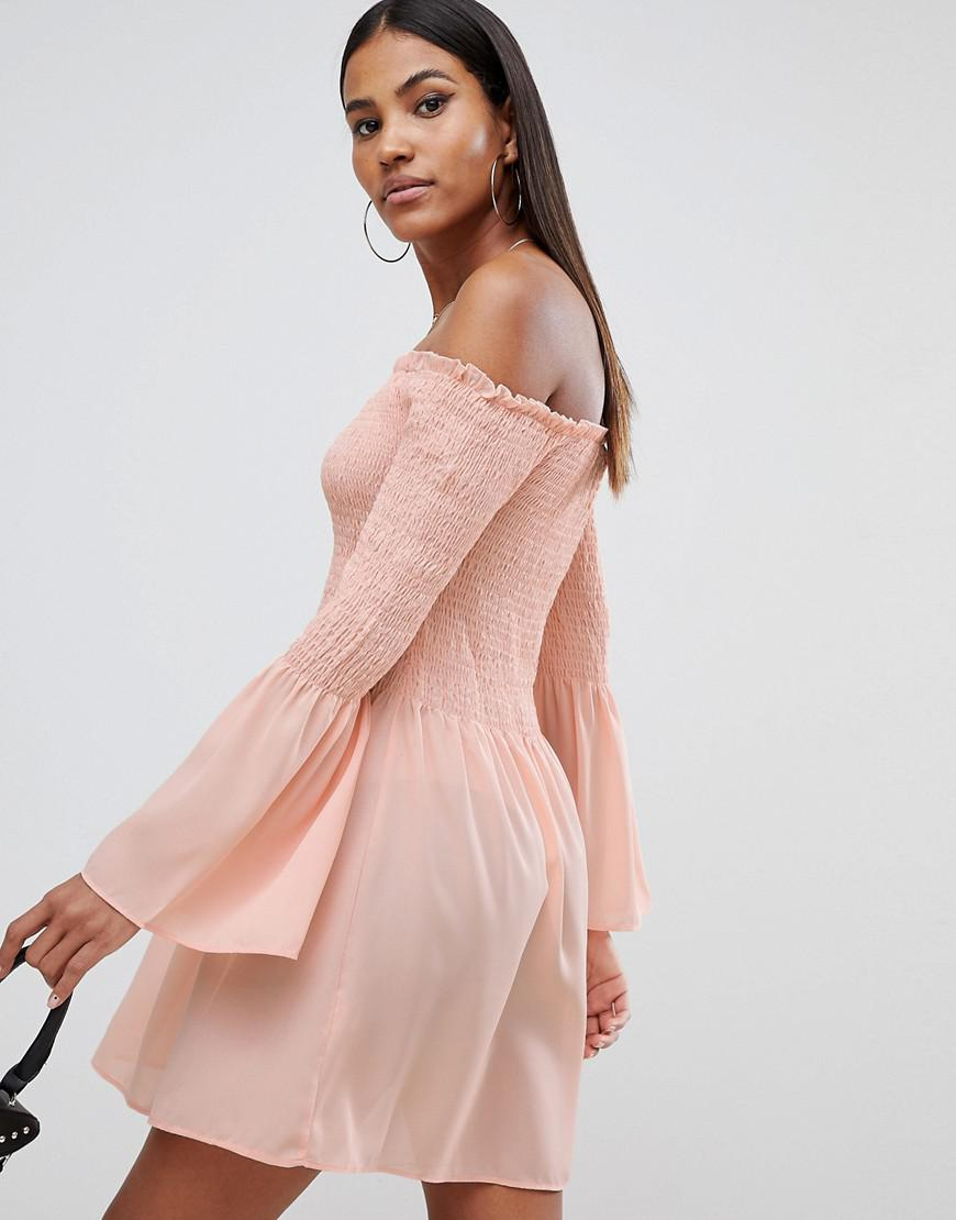 cf7690764928 Missguided Bardot Swing Dress in Pink - Lyst