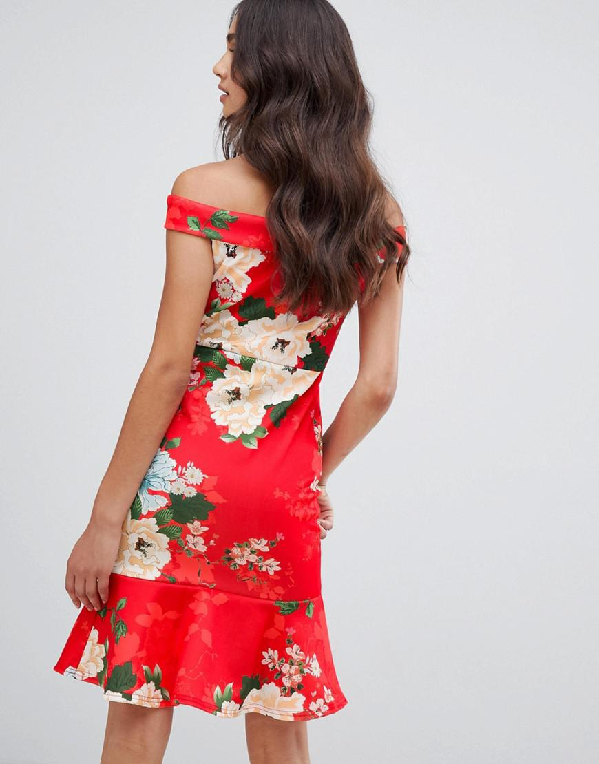 a5a0353141b4 Lyst - Girls On Film Floral Bardot Dress With Frill Hem in Red