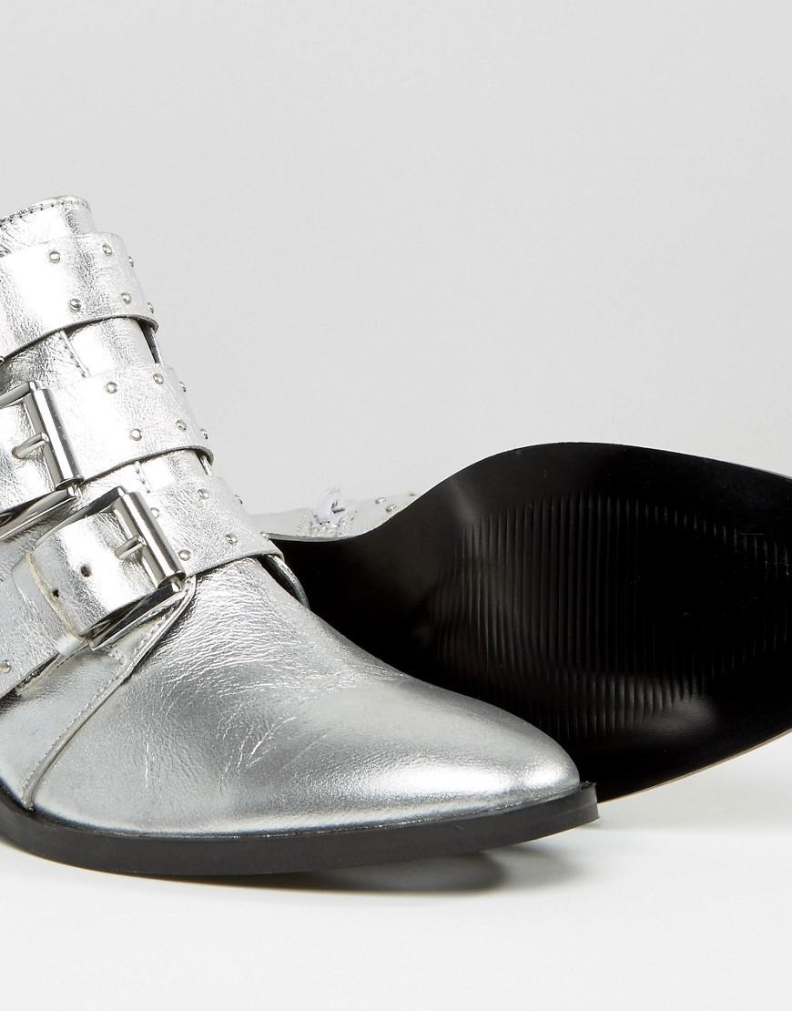 dc722bbc7e5 ASOS Metallic Ashleigh Leather Studded Ankle Boots