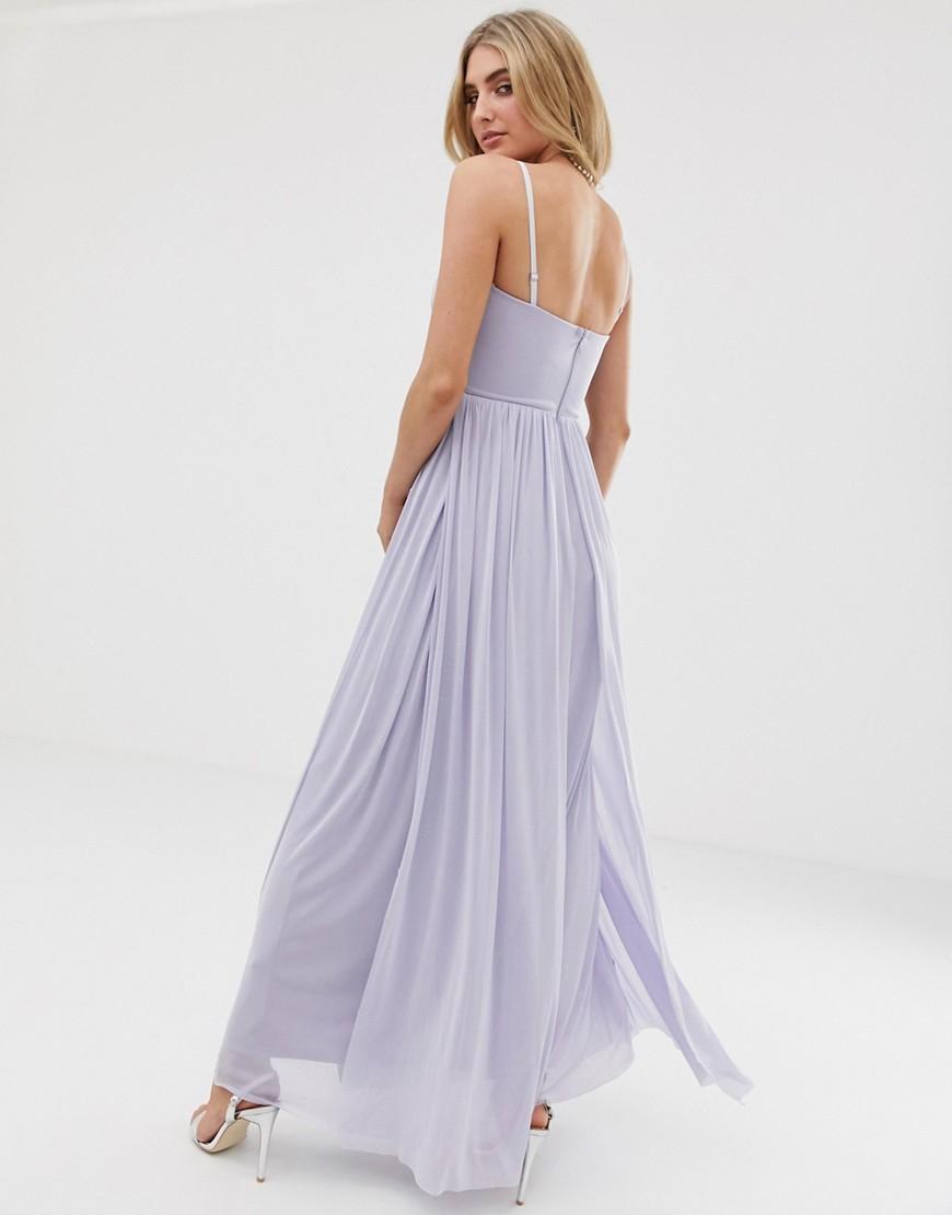 454ed9e105bb41 Lyst - Lipsy Bandeau Chiffon Maxi Dress In Cornflower Blue in Blue