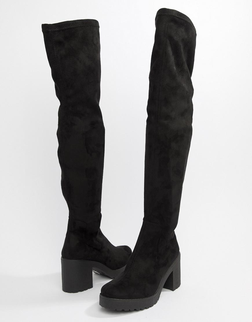 The Knee Chunky Heel Boots in Black