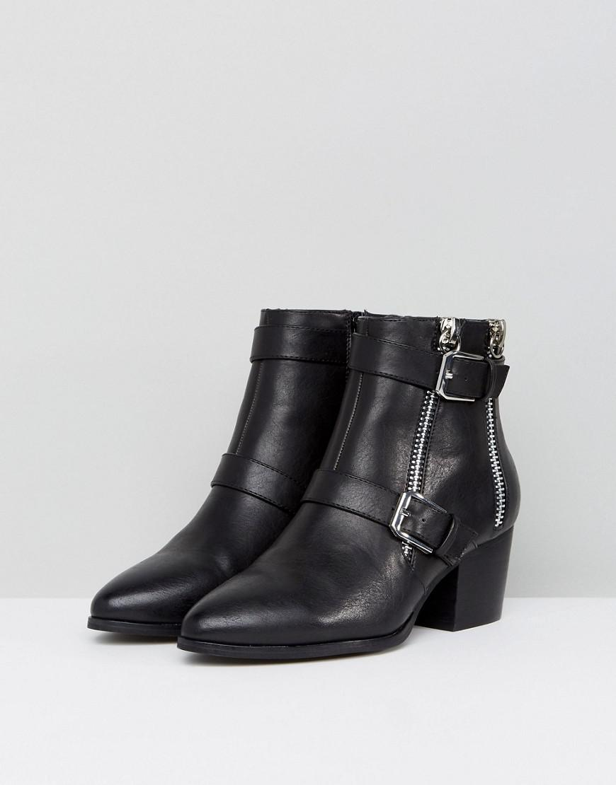 ASOS Denim Ration Zip Ankle Boots In Water Based Pu in Black