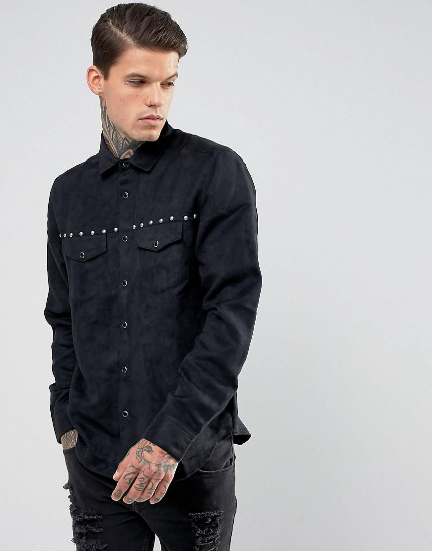Lyst asos regular fit suedette shirt with stud and for Mens shirt with tassels
