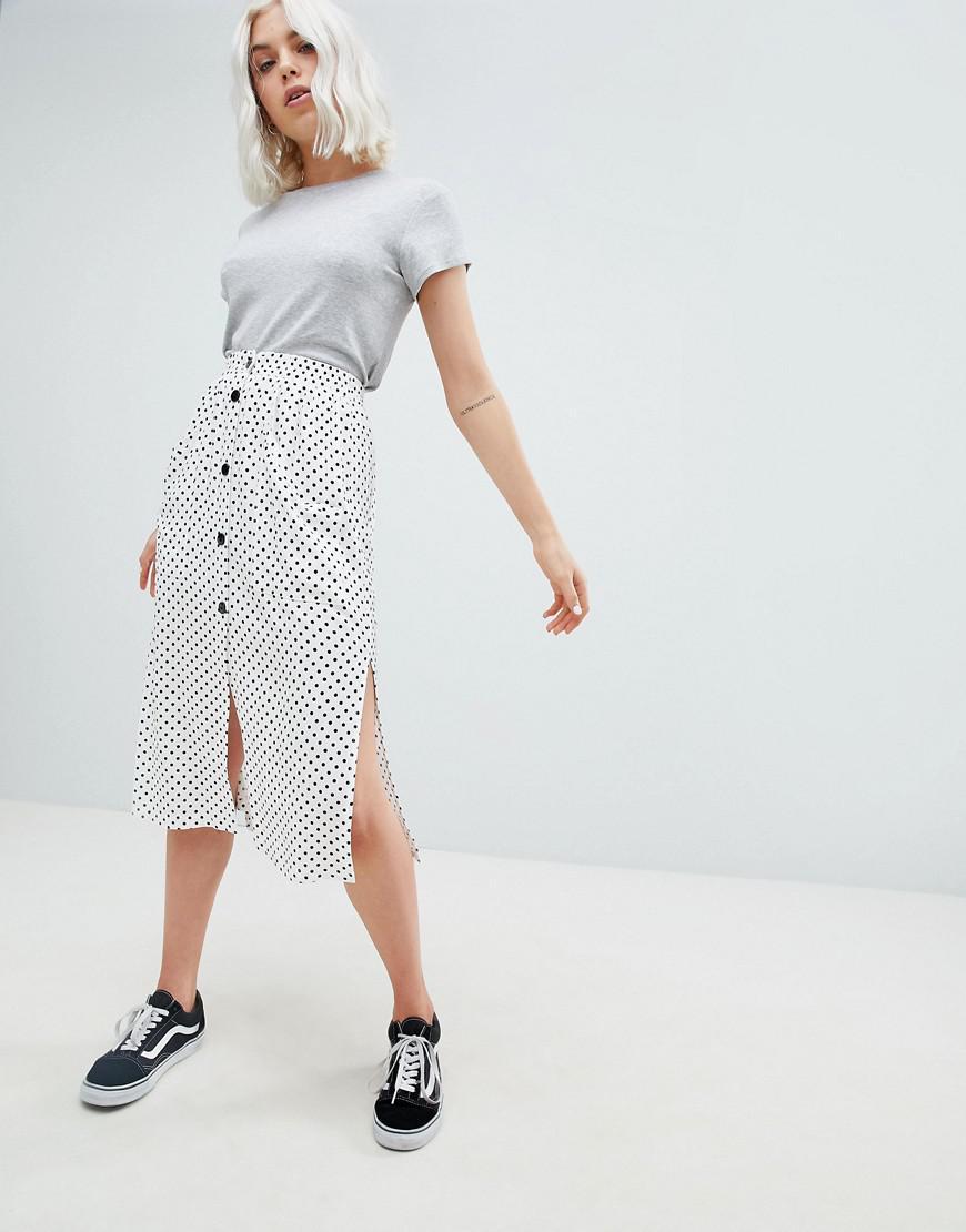 4b5ecb931d Pull&Bear Button Detail Midi Skirt In Polka Dot - Lyst