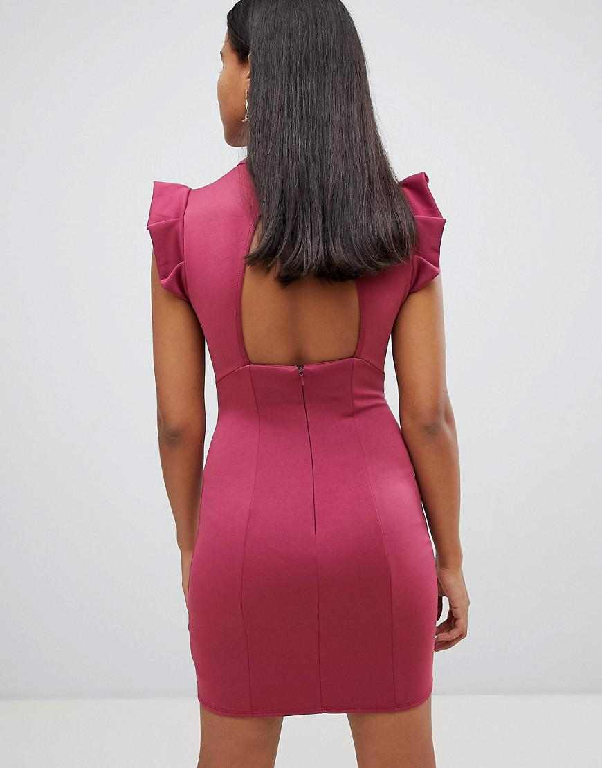 97e4b98255 Lyst - ASOS Asos Mini High Neck Pencil Dress With Cut Out Back And Shoulder  Detail in Red