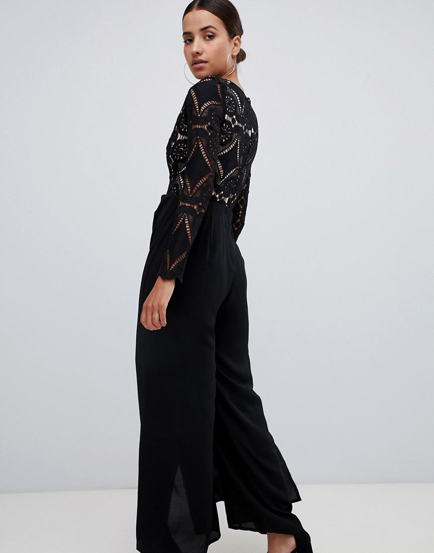 edce3e36ef50 Love Triangle All Over Cut Work Lace Top Wide Leg Split Jumpsuit In Black  in Black - Lyst