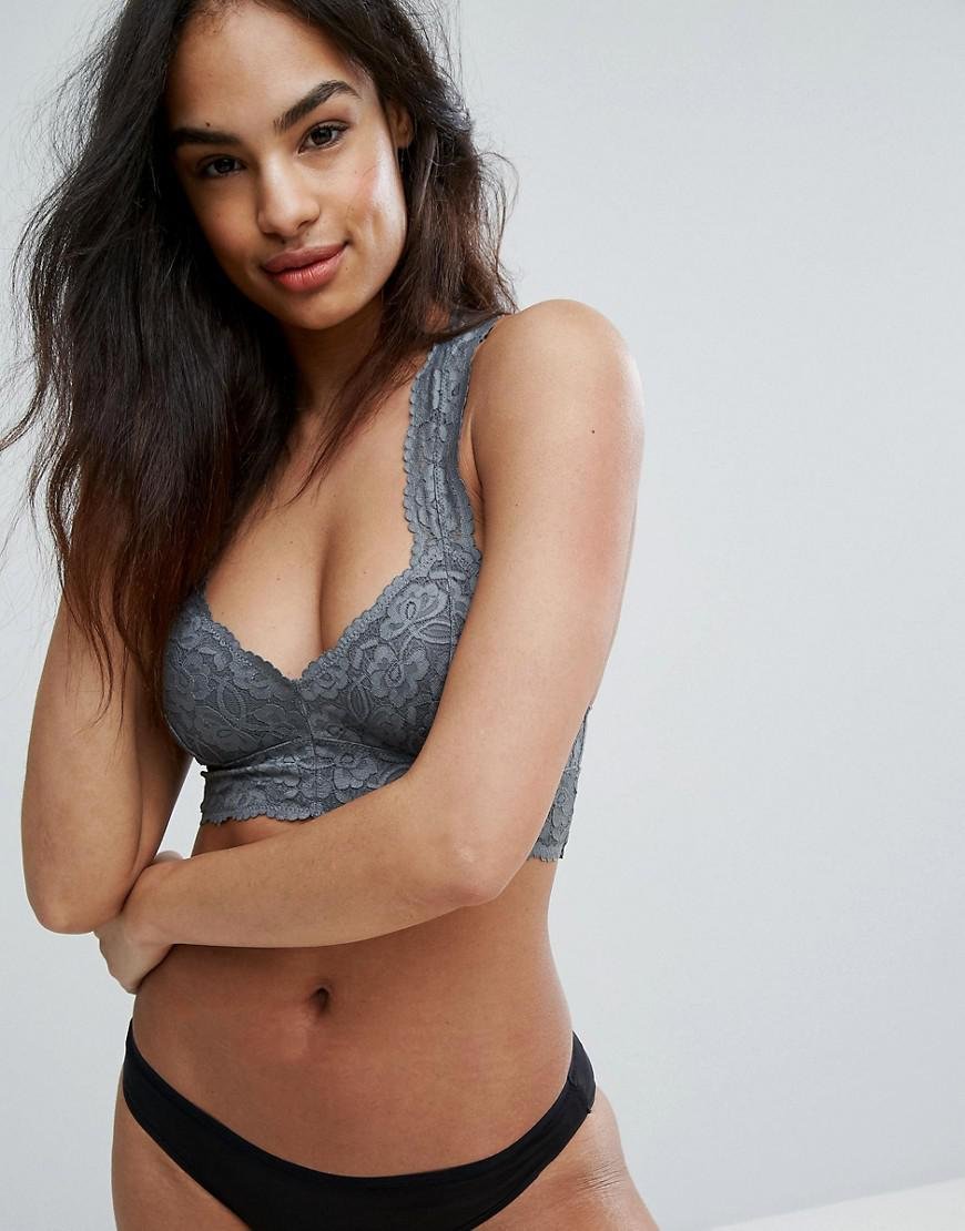 eed4a4f465 Free People Galloon Lace Racerback Crop Bra in Gray - Lyst
