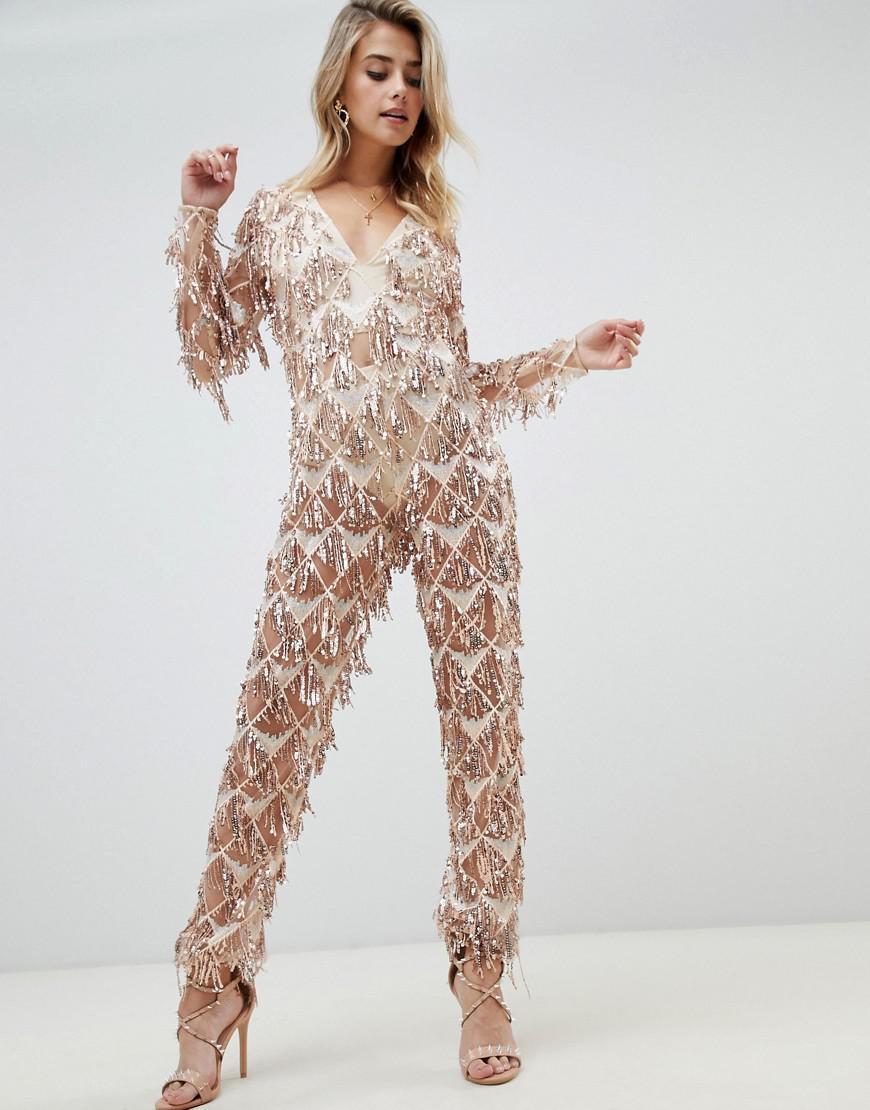 6b418241b86c Lyst - PrettyLittleThing Tassel Sequin Jumpsuit In Gold in Metallic