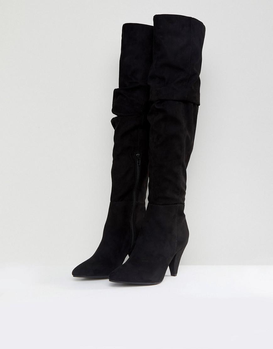 67ec23ad695 Miss Selfridge Black Over The Knee Ruched Boot