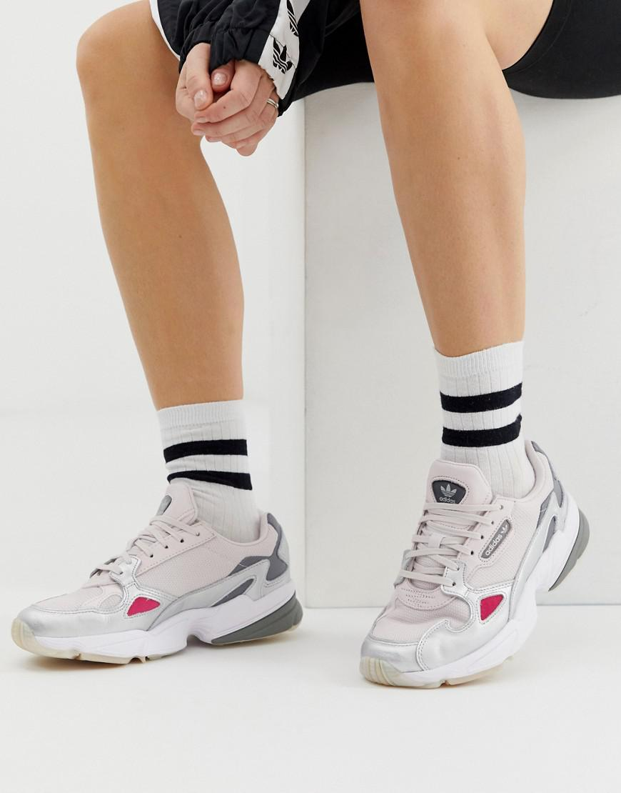 2aab4f776a98 Lyst - adidas Originals Falcon Sneaker In Gray And Silver in Gray