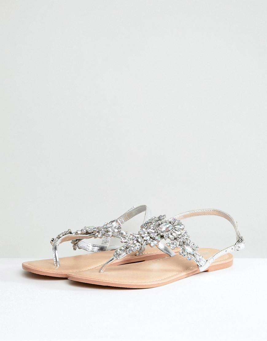e21729e4a Lyst - ASOS Wide Fit Fairlight Leather Embellished Flat Sandals in Metallic