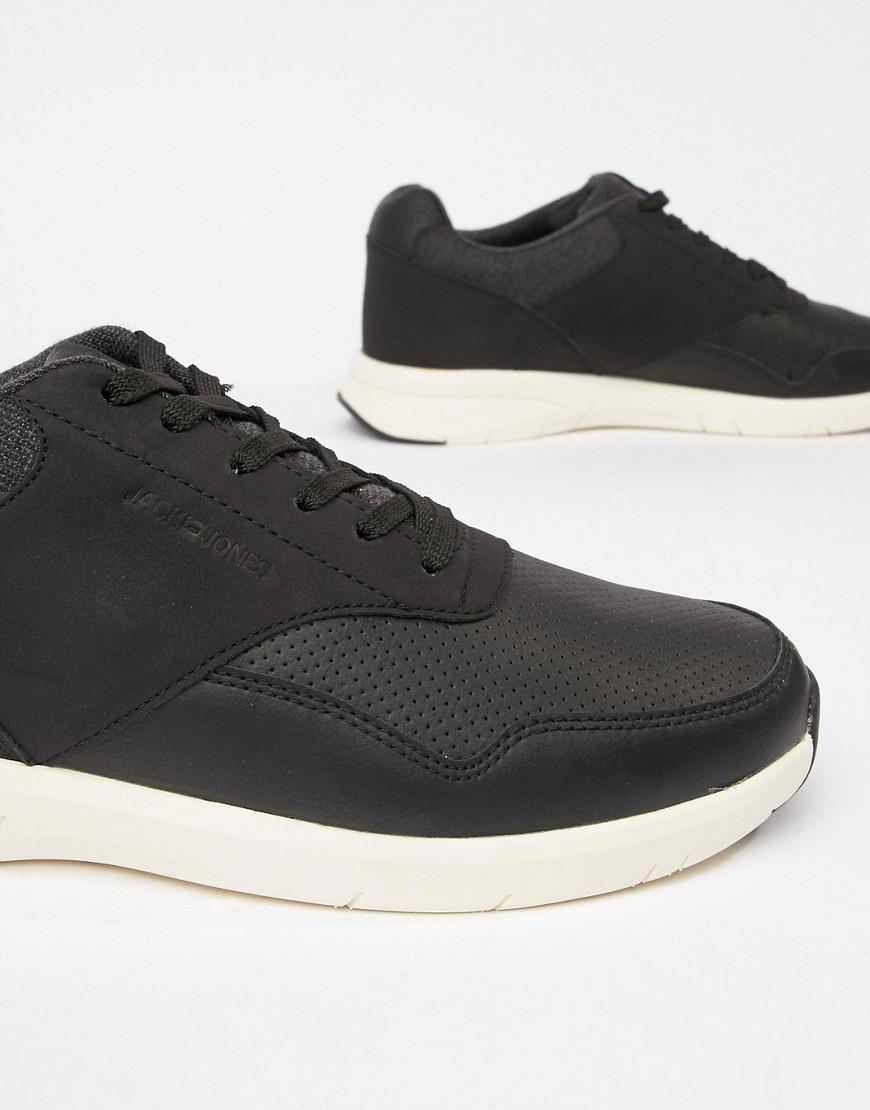 Jack & Jones Denim Mixed Panel Sneakers in Black for Men