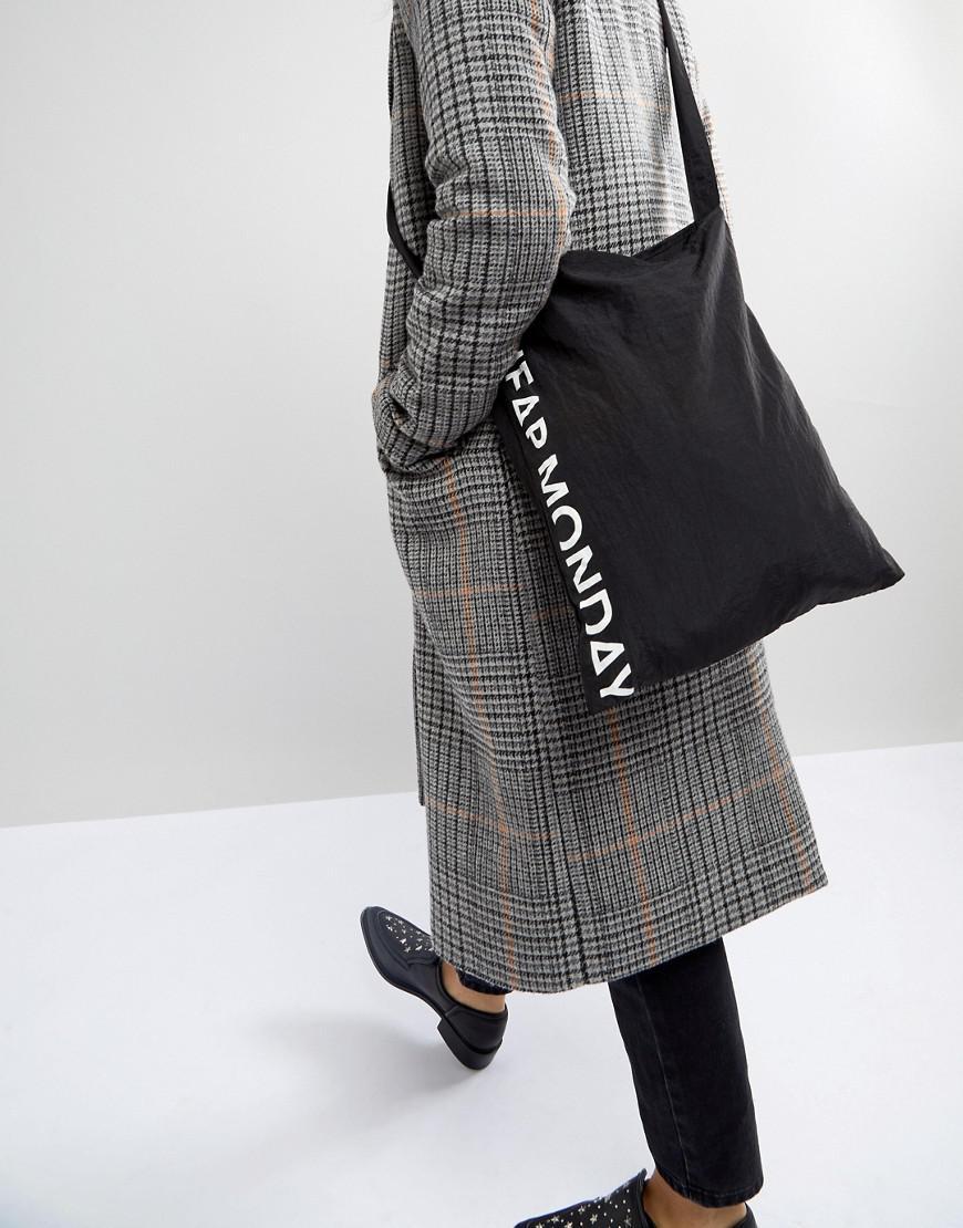 Cheap Monday Denim Spliced Logo Tote Bag in Black