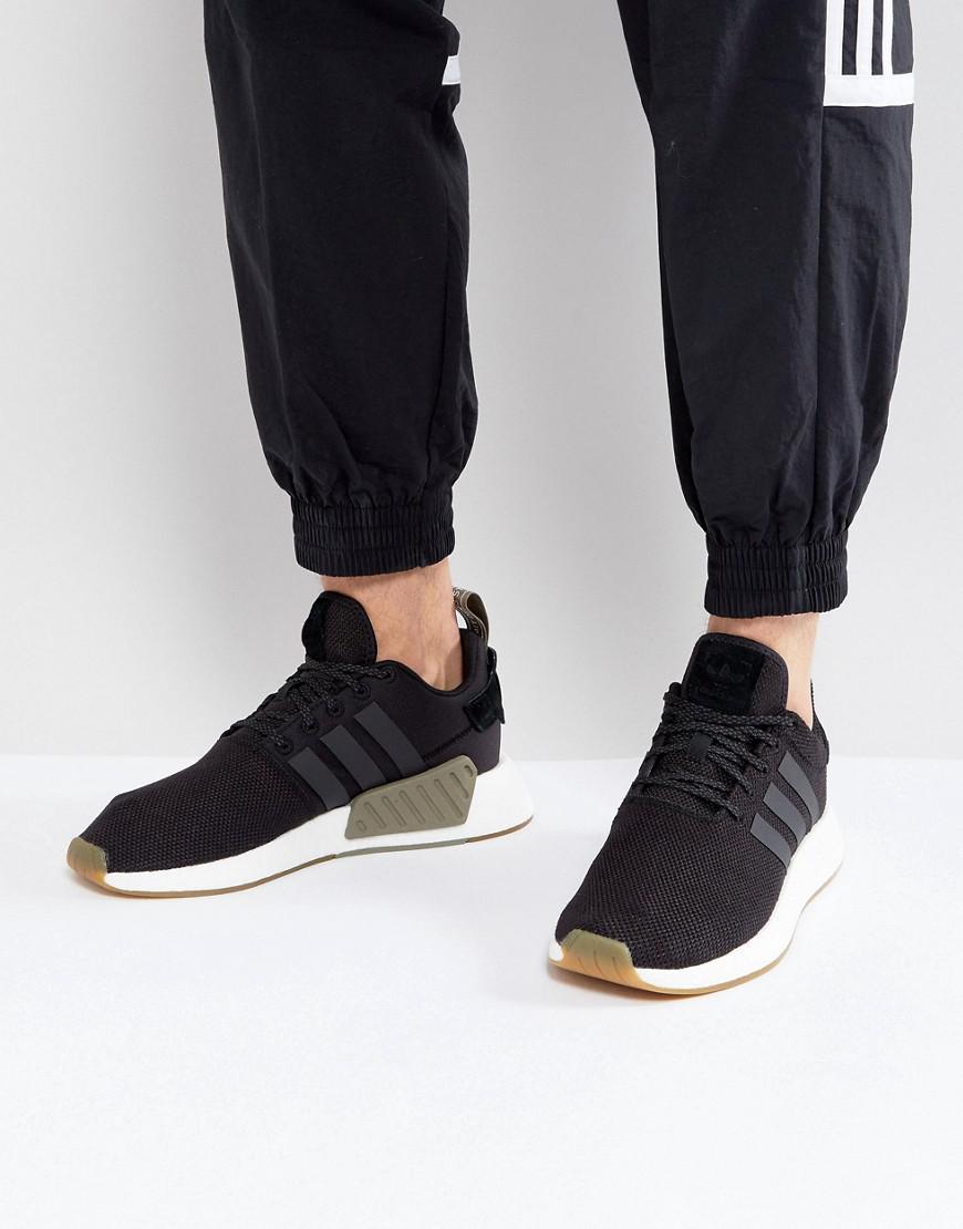 Lyst adidas originali nmd r2 formatori in nero by9917 in nero per gli uomini.