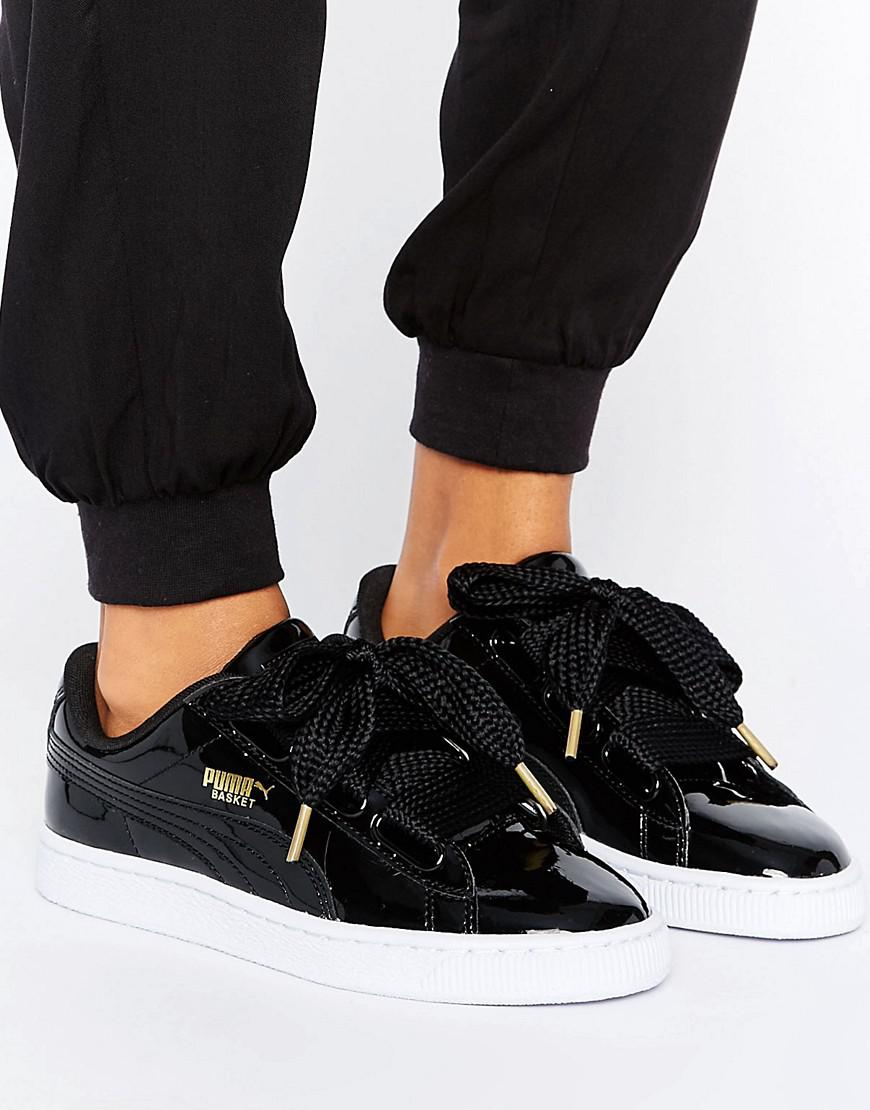 puma basket heart trainers black patent