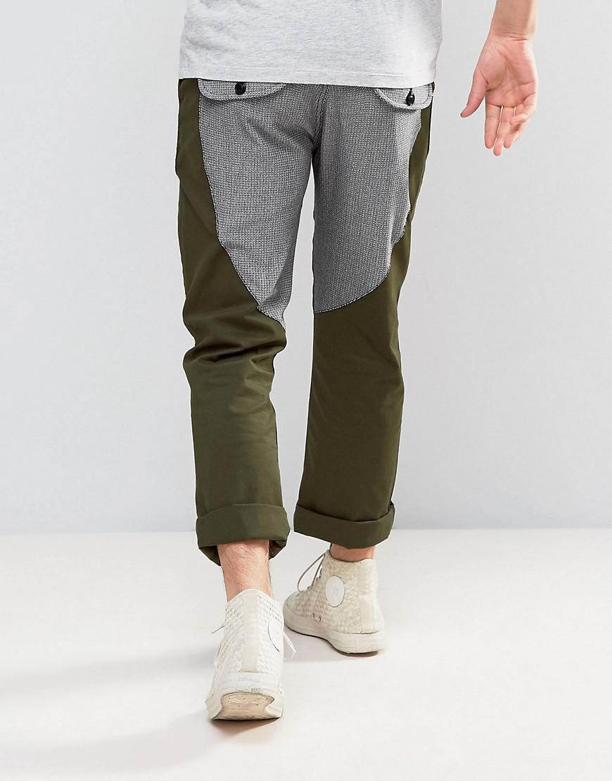 ASOS Cotton Straight Carpenter Pants With Contrast Back Panel In Khaki in Green for Men